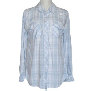 Rails Light Blue & White Plaid Button Down Shirt S